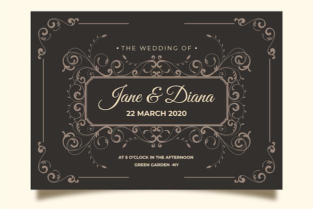 茶色の背景にビンテージの結婚式の招待状
