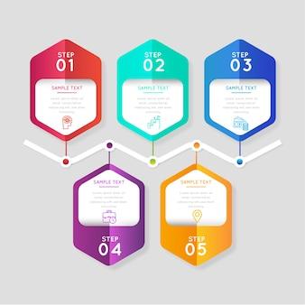 Градиент бизнес инфографики шаги