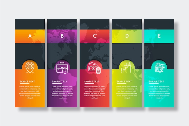 Градиент времени бизнес инфографики