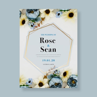 さまざまな色とりどりの花のウェディングカード