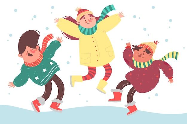Молодые граждане прыгают в зимней одежде