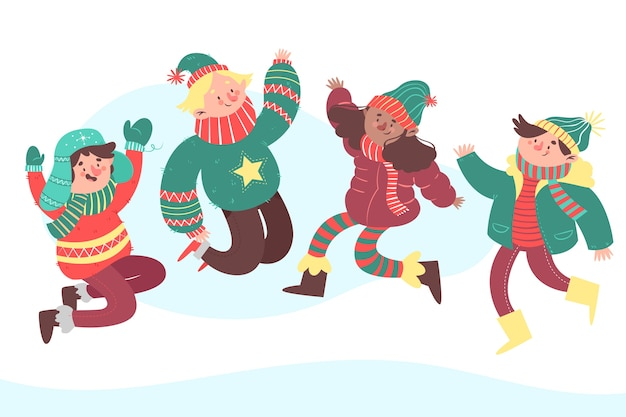 Иллюстрация молодых людей, прыжки
