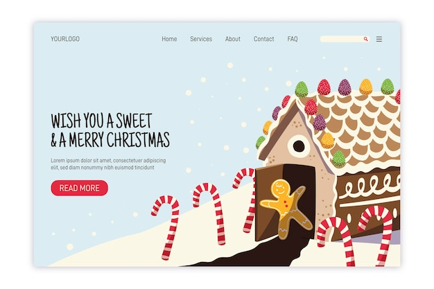 フラットデザインのクリスマスランディングページテンプレート