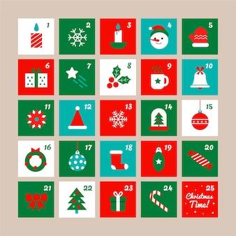 Адвент календарь в плоском дизайне