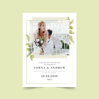 Красивый шаблон свадебной открытки с рисунком