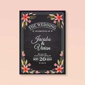 花とレトロな結婚式の招待状