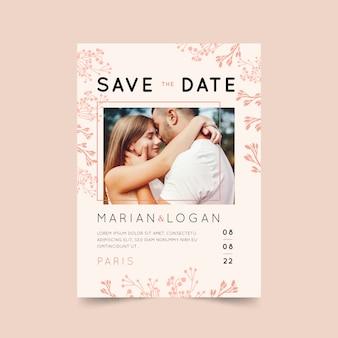 写真とピンクの結婚式の招待状