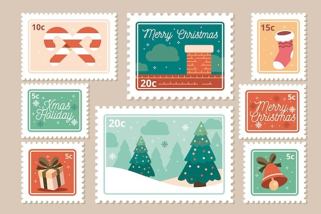 Коллекция рождественской марки в плоском дизайне