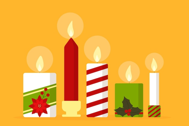 フラットなデザインのクリスマスキャンドルのコレクション