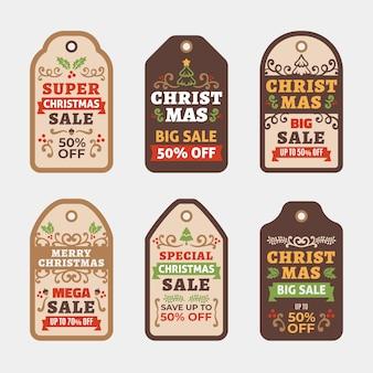 Коллекция рождественской продажи тега в плоском дизайне