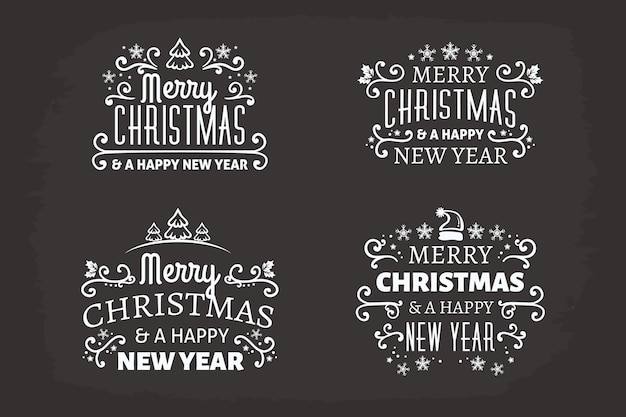Рождественская коллекция этикеток на доске
