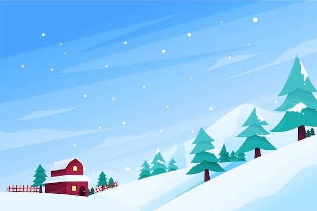 フラットなデザインの冬のコンセプト