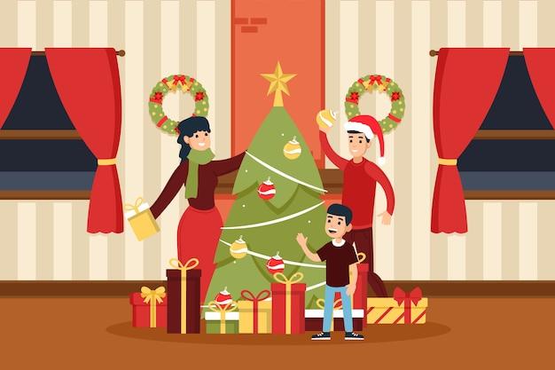 フラットなデザインのクリスマス家族イラスト