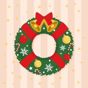 Рождественский венок в плоском дизайне