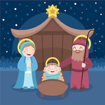 フラットなデザインのクリスマスのキリスト降誕のシーン