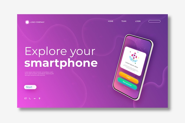 スマートフォンを使用したテンプレートのランディングページ