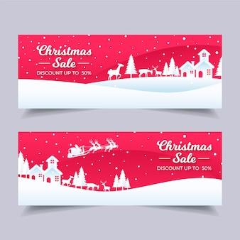 フラットなデザインのクリスマスセールのバナー