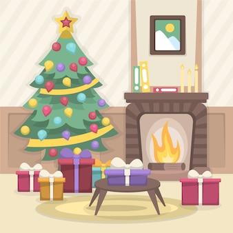フラットなデザインのクリスマス暖炉イラスト