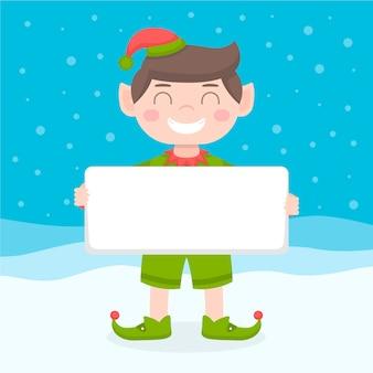 白紙の横断幕を保持しているクリスマス文字