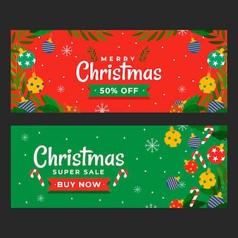 フラットなデザインのクリスマスセールのバナーテンプレート
