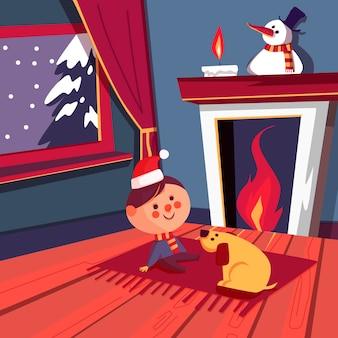 フラットなデザインのクリスマス暖炉シーンのコンセプト