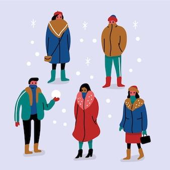 冬服の人々