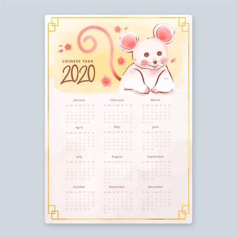 Акварельный китайский новогодний календарь с крысой