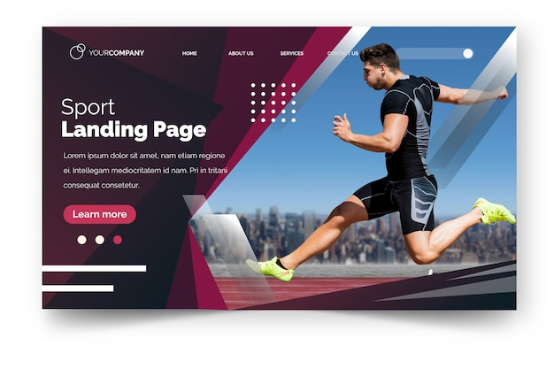 Лендинг спорт с изображением