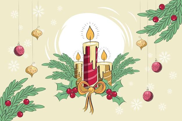 ビンテージクリスマスキャンドルの背景