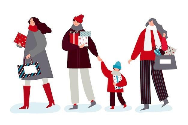 Набор людей с подарками