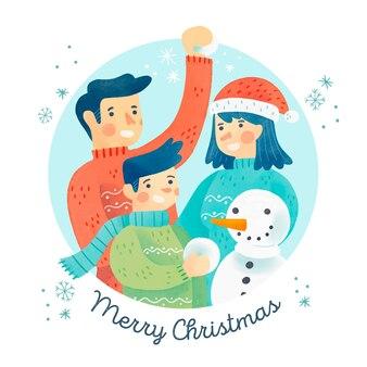 Рождественская семейная сцена концепции в акварели