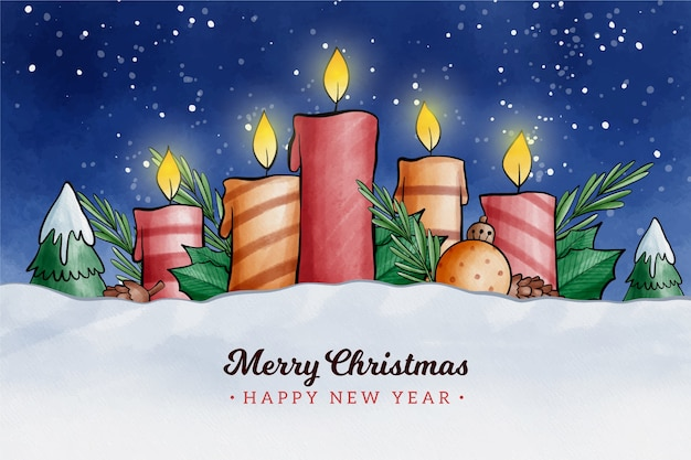 Акварель дизайн рождественская свеча фон