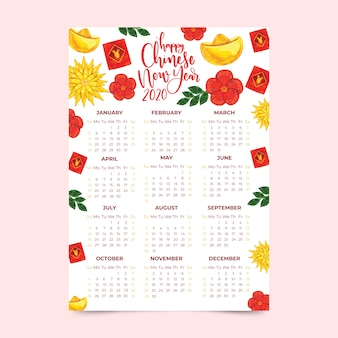 花と水彩の中国の旧正月カレンダー