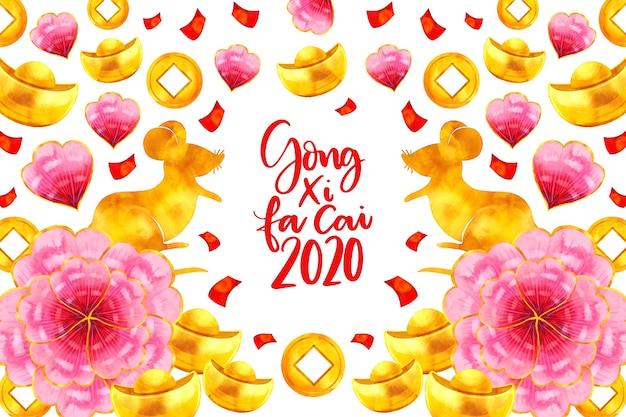 Акварельный китайский новый год с цветами