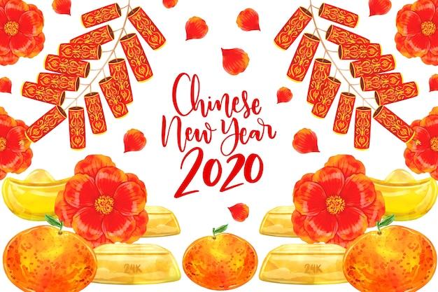 Акварельный дизайн китайский новый год с цветами