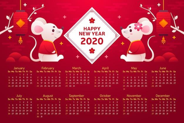 Китайский новый год календарь плоский дизайн
