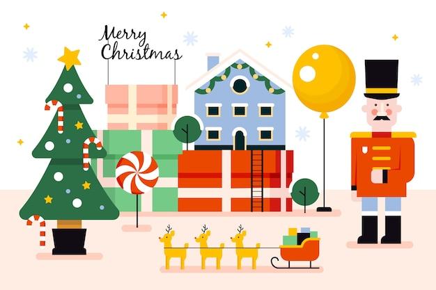 フラットなクリスマスのおもちゃの背景
