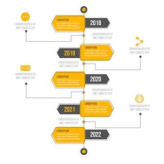 グラデーションタイムラインプロインフォグラフィック