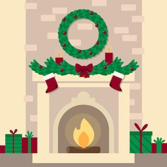 Плоский дизайн рождественский камин