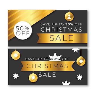 Золотые рождественские продажи баннеров шаблон