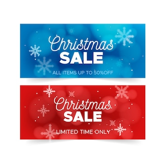 Размытые рождественские продажи баннеров шаблон