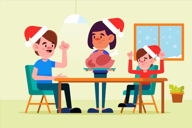 フラットなデザインのクリスマス家族シーンのコンセプト