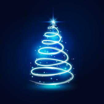 光の道で作られたクリスマスツリーの概念
