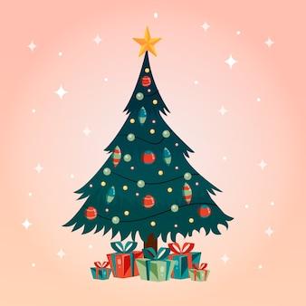 ビンテージデザインのクリスマスツリーの概念