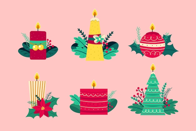 手描きクリスマスキャンドルコレクション
