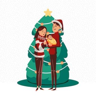 Нарисованная рукой концепция сцены семьи рождества