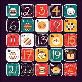 Плоский дизайн праздничного календаря пришествия