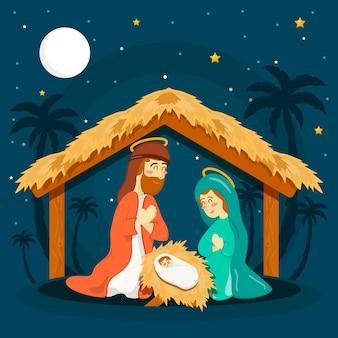 手描きのキリスト降誕のシーンのコンセプト