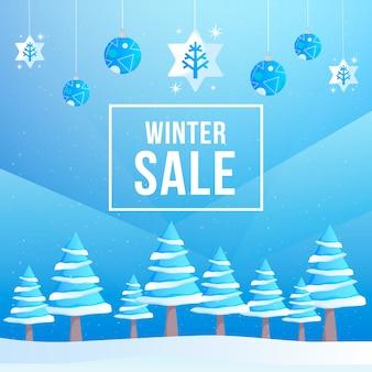 Плоский дизайн концепции зимней распродажи