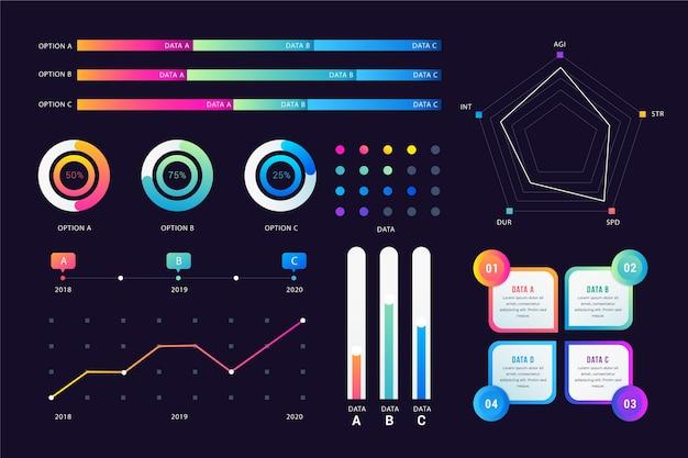 Профессиональные градиентные инфографические элементы